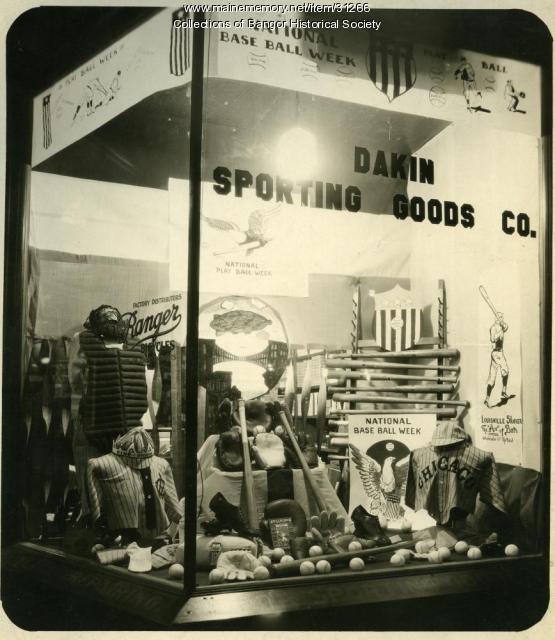 Dakin Store Baseball Window Display, Bangor, ca. 1937