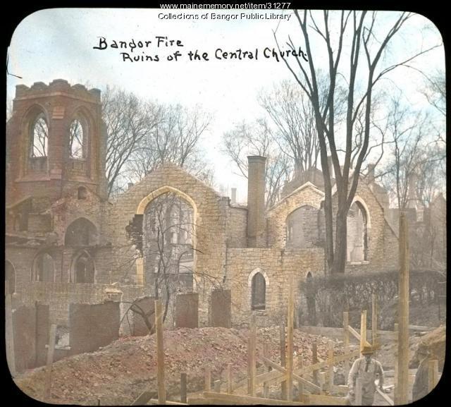 Central Church ruins, Bangor, 1911