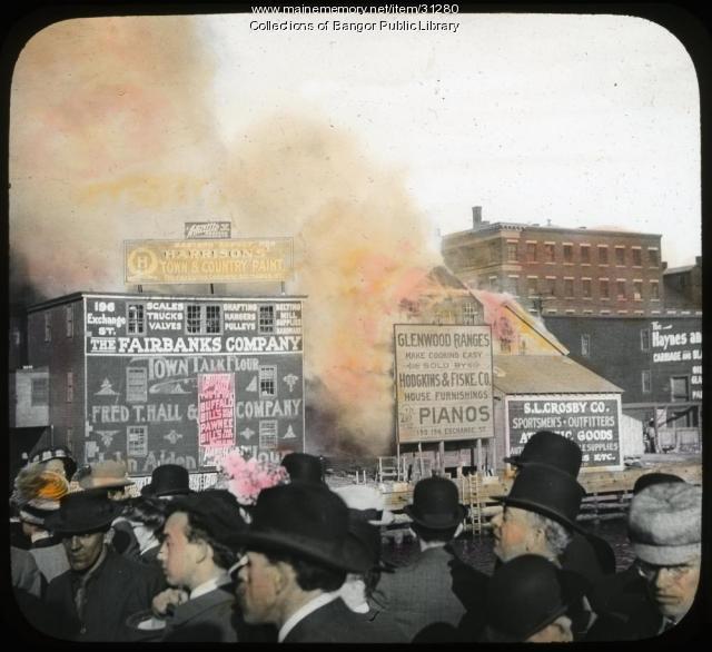 Fairbanks Building on Fire, Bangor, 1911