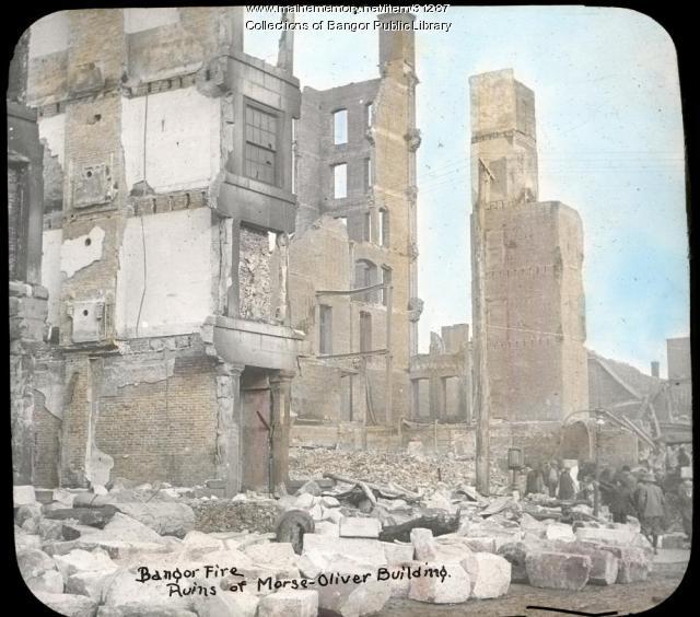 Morse Oliver building ruins, Bangor, 1911