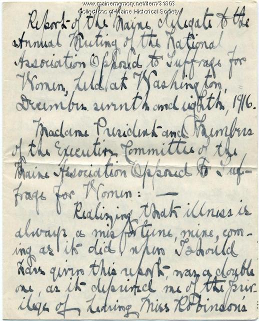 Annie F.H. Boyd report on anti suffrage convention, Portland, 1917