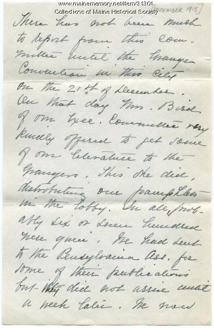 Anti suffrage report on activities, Portland, ca. 1915