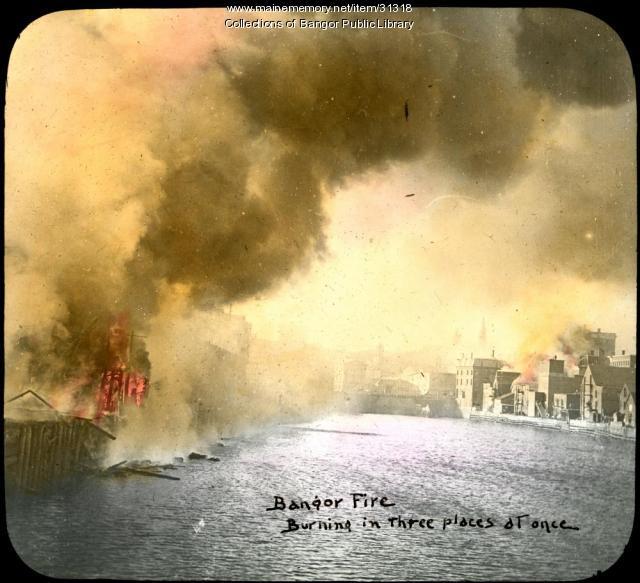 Downtown burning, Bangor, 1911