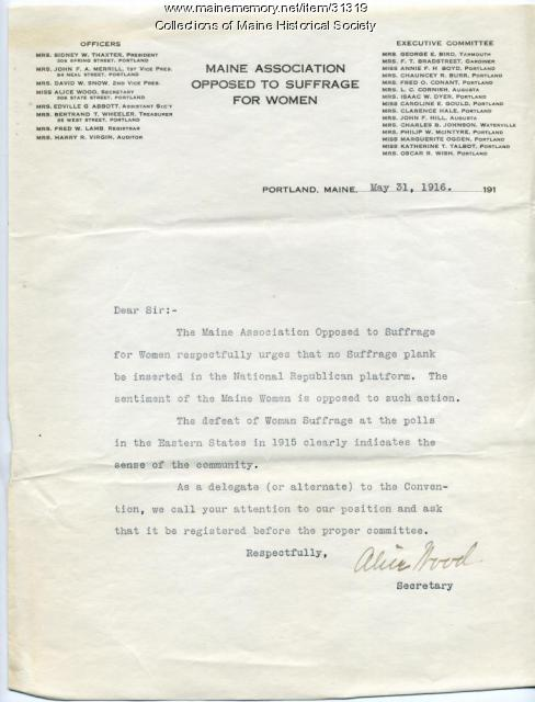 Request for no suffrage plank, Portland, 1916