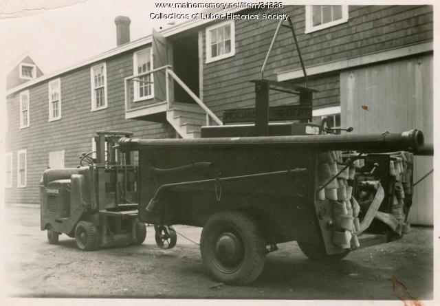 Corporate firefighting vehicle, Lubec, ca. 1950