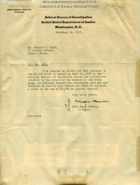 J. Edgar Hoover to Shep Hurd, Bangor, 1937