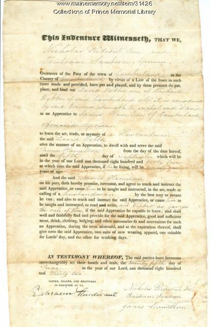 David Webber indenture document, Cumberland, 1832