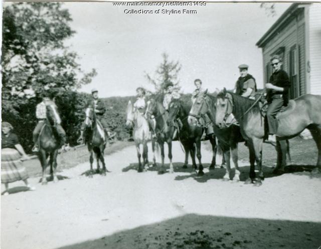 Riders on horseback at Skyline Farm, ca. 1960