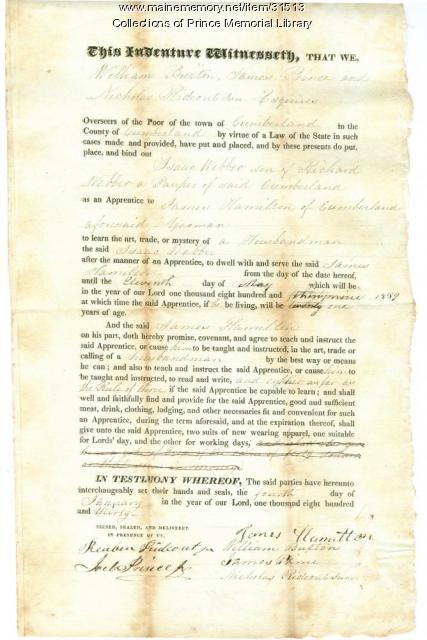 Isaac Webber indenture document, Cumberland, 1830