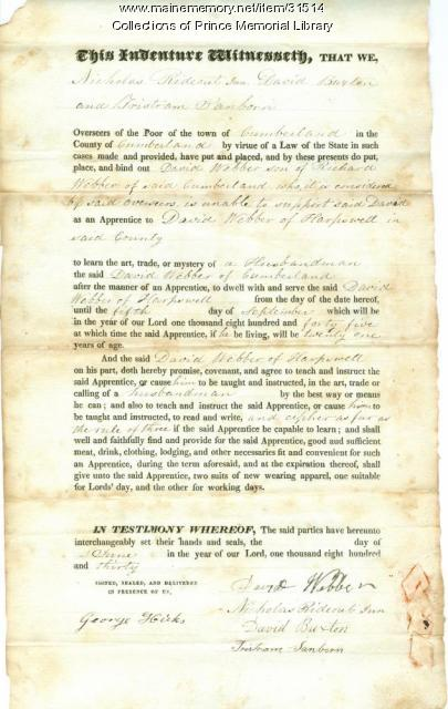 David Webber indenture document, Cumberland, 1830