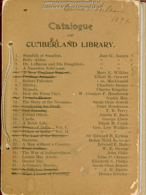 Catalogue of Cumberland Library, 1897