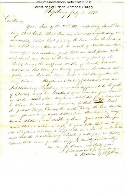 Letter regarding Sarah Darling, Cumberland, July 5, 1831
