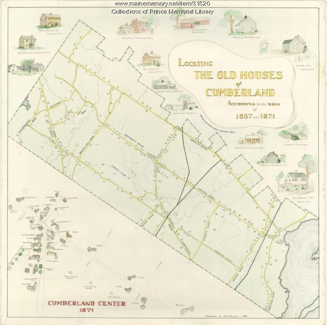 Locating the old houses of Cumberland map, by Hope Dilloway, 1989