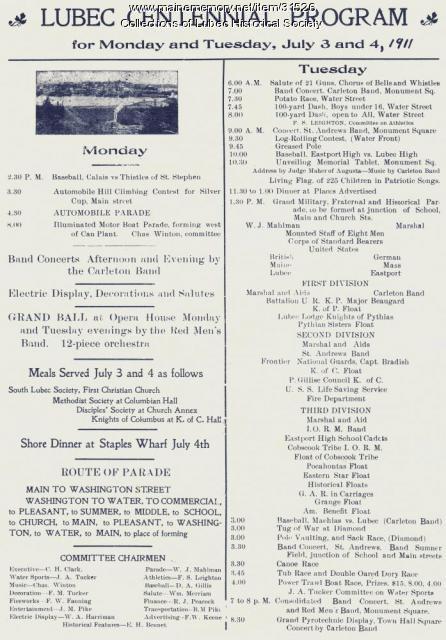 Centennial program, Lubec, 1911
