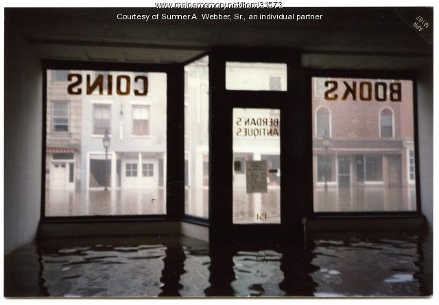Flooding in Berdan's Antique Shop, Hallowell, 1987