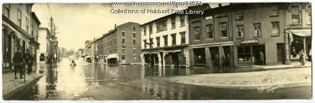 Kennebec flooding on Water Street, Hallowell, 1923
