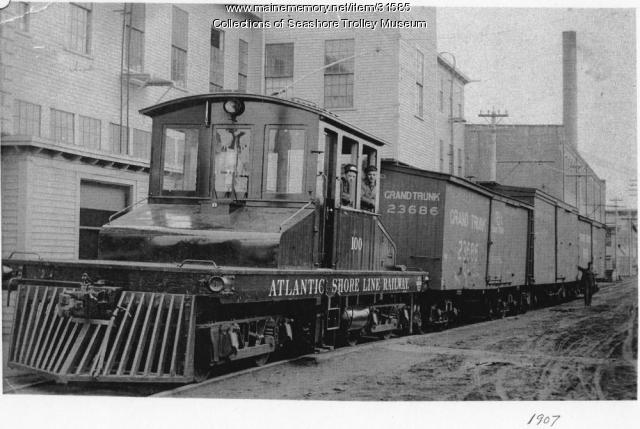 Atlantic Shore Line Railway locomotive #100, Sanford, ca. 1907
