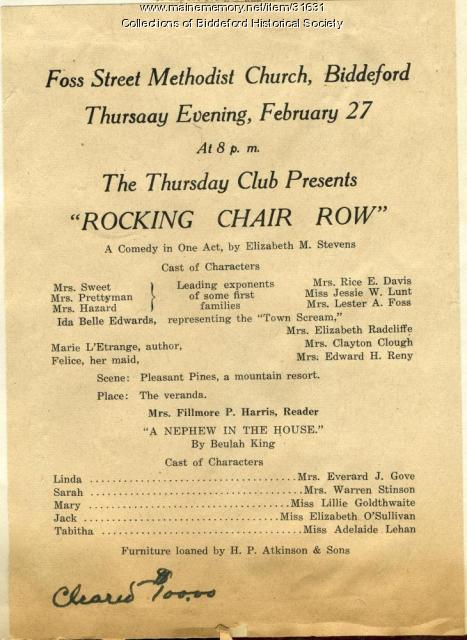 """Rocking Chair Row"" program, Biddeford, 1930"