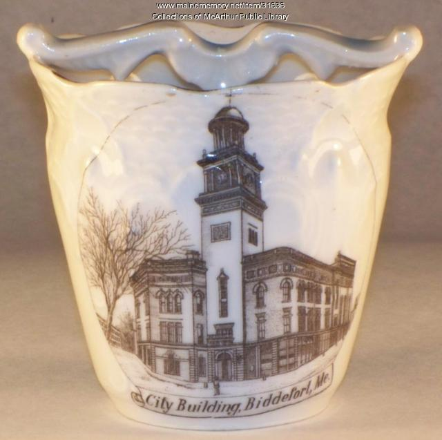 City Building commemorative cup, Biddeford, ca. 1905