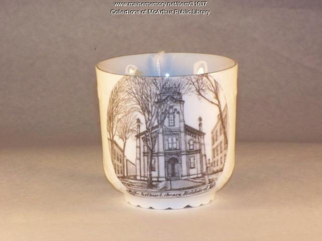 McArthur Public Library commemorative tea cup, Biddeford, ca. 1905