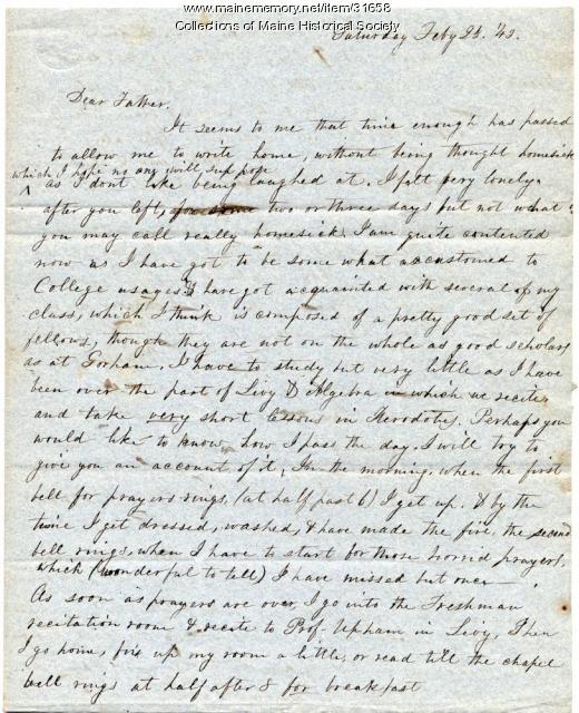 Josiah Pierce, letter from Bowdoin, 1843