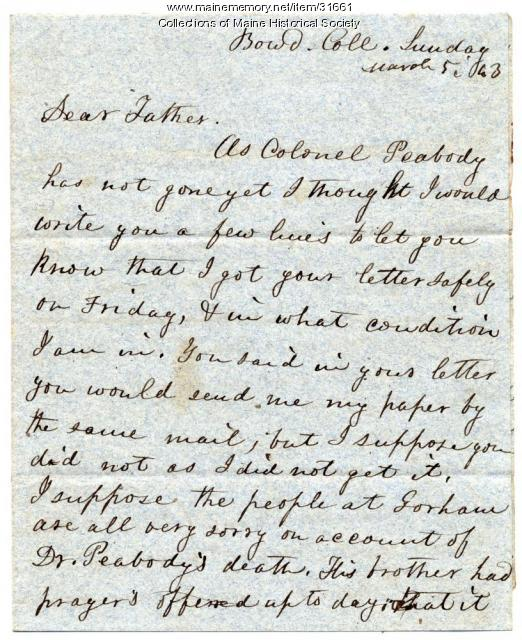 Josiah Pierce letter on comet, Millerism, Brunswick, 1843