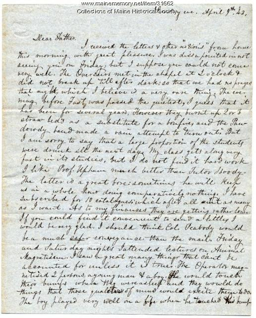 Letter on animal magnetism demonstration, Brunswick, 1843