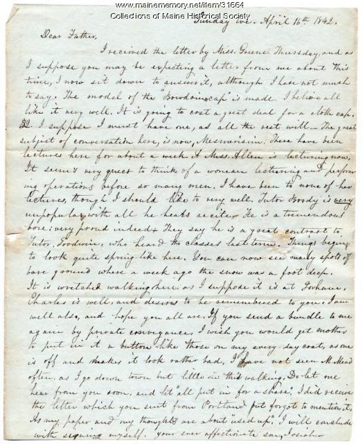 Letter about woman lecturer, Brunswick, 1843