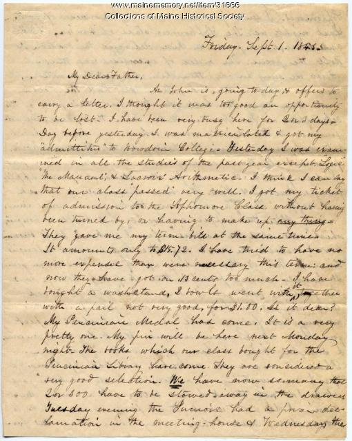 Josiah Pierce on admission to sophomore class at Bowdoin, 1843