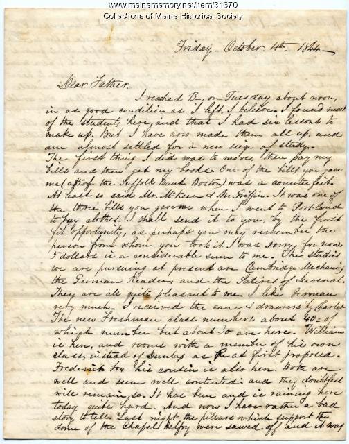 Josiah Pierce letter on college pranks, Brunswick, 1844