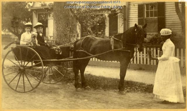 Laura Allen, companion, and maid Minnie Taylor, Saco, ca. 1890