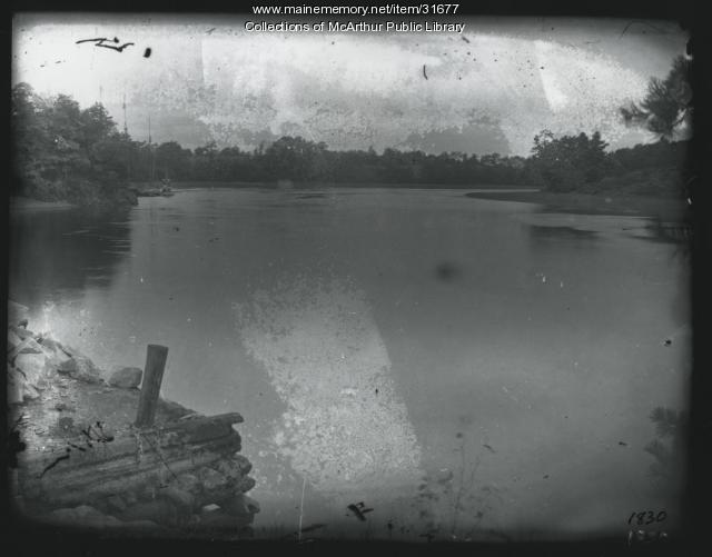 Schooner and tug at Quarry Wharf, Saco River, ca. 1910