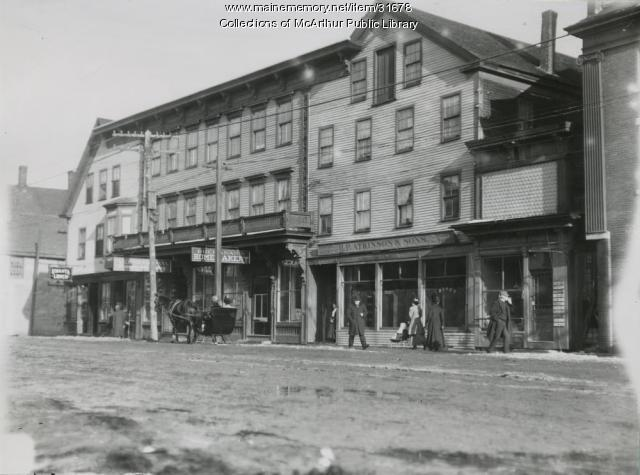 Main Street businesses, Saco, 1911