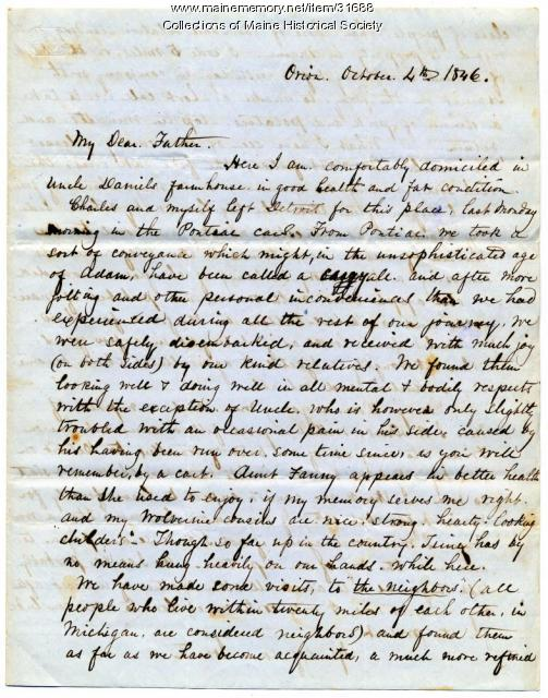 Josiah and Daniel Pierce letter about Michigan, 1846