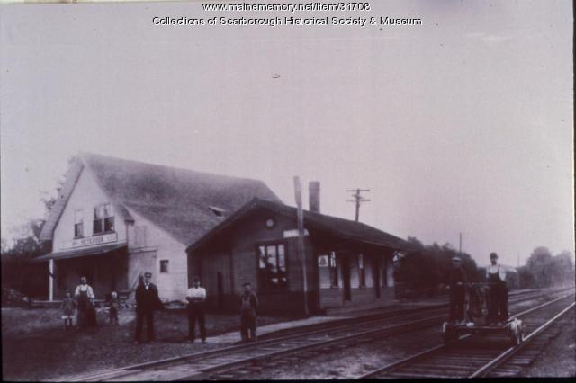 Oak Hill Railroad Station and Peterson's Grain Store, Scarborough, ca. 1905