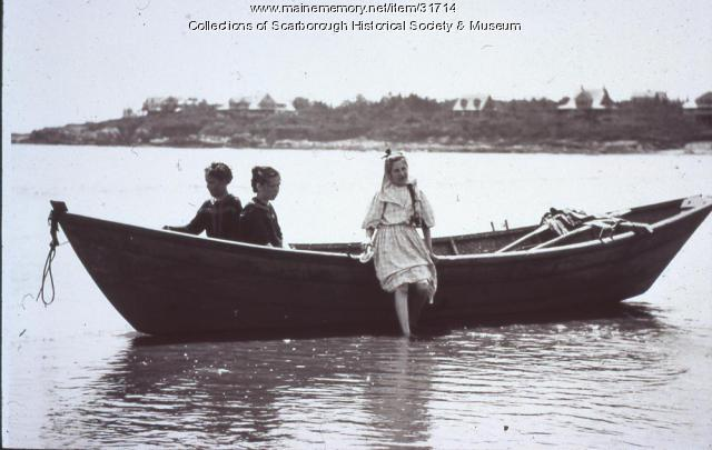 Dory with Twin Girls, Scarborough, ca. 1905
