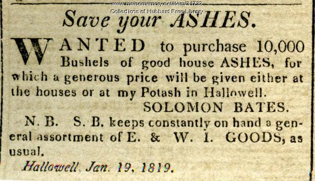SEE NOTES Save Your Ashes advertisement, Hallowell, 1819