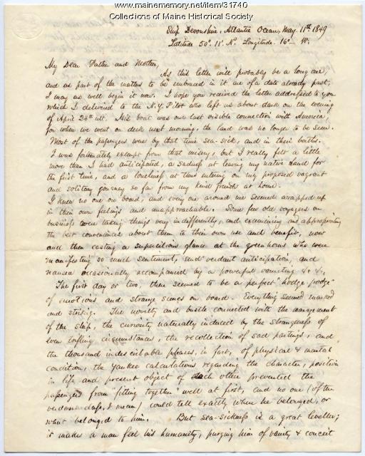 Josiah Pierce On Passage To England 1849