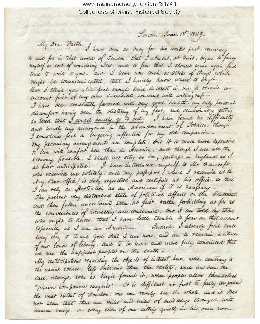 Josiah Pierce on visit to London, 1849