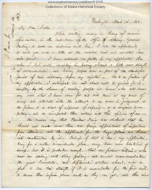 Letter on diplomatic appointment, Washington, D.C., 1853