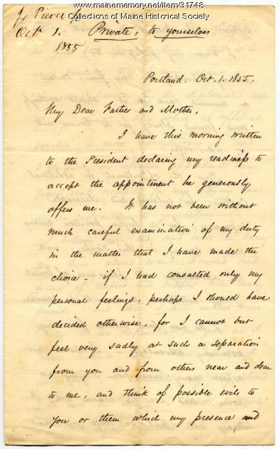 Josiah Pierce on diplomatic appointment, 1855