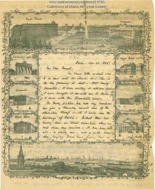 Josiah Pierce letter from Berlin, 1855