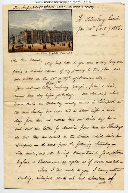 Josiah Pierce description of St. Petersburg, Russia, 1856