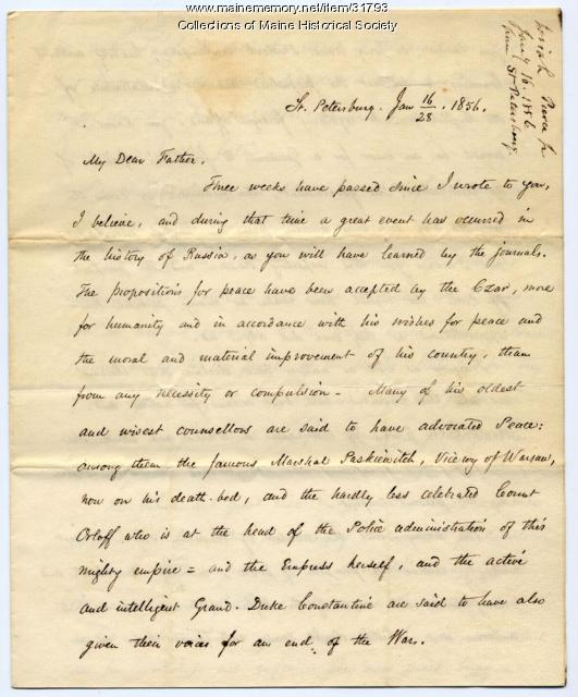 Letter on Crimean War peace agreement, 1856