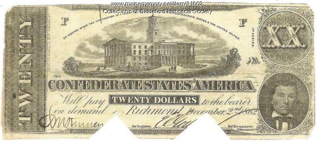 Confederate money, 1862