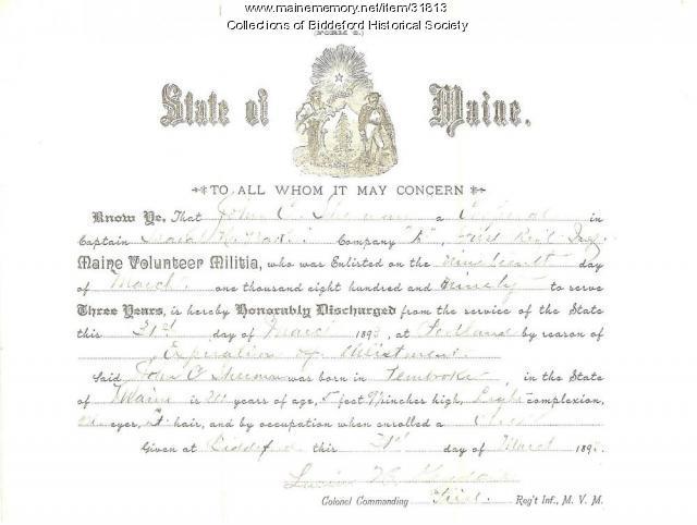 John C. Sherman discharge paper, Biddeford, 1893
