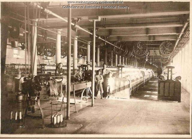 Arthur Danis and boys at work at Pepperell Mill, Biddeford, ca. 1908