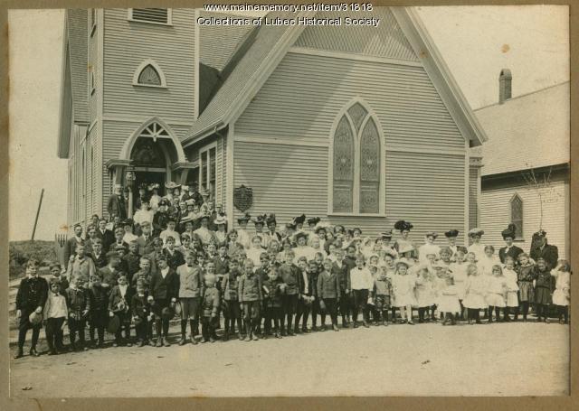 Christian Temple Church congregation, Lubec, ca. 1906