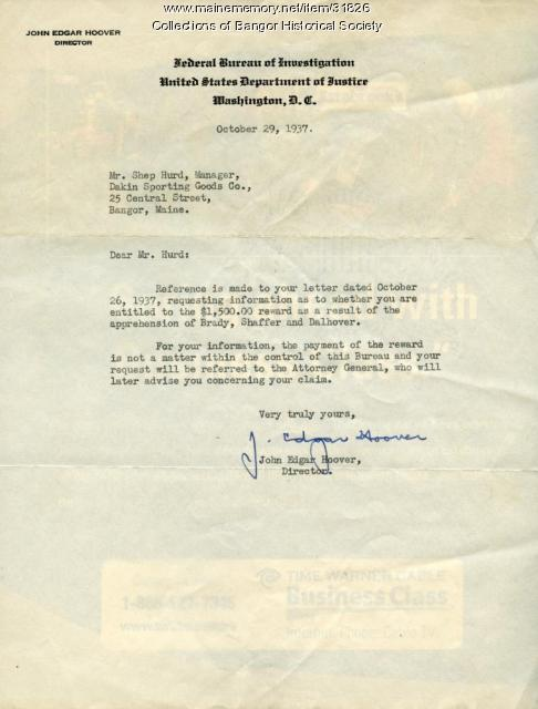 J. Edgar Hoover to Shep Hurd, Bangor, October 29, 1937