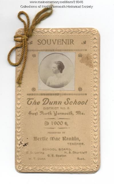 Dunn School Remembrance card, North Yarmouth, 1900